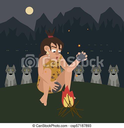 fuoco, caveman, predatore, vettore, protegge, cartone animato - csp57187893