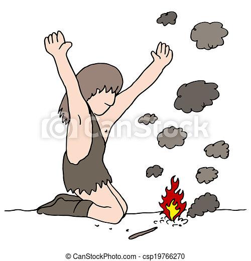 fuoco, caveman, scopre - csp19766270