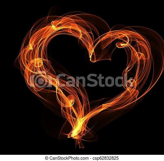 fuoco, cuore, illustrazione - csp62832825