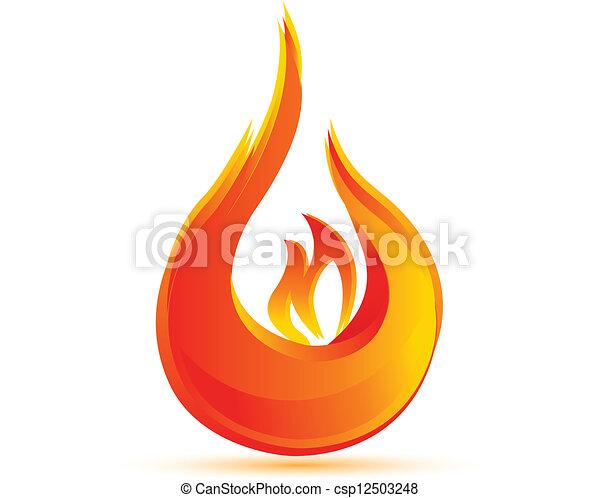 fuoco, logotipo, vettore, eps10, fiamme - csp12503248