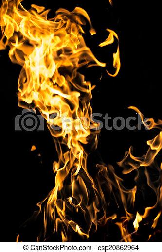 fuoco, nero, astratto, fiamma, fondo - csp20862964