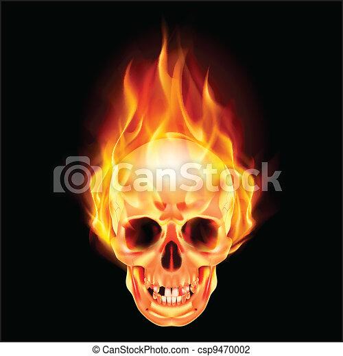 fuoco, pauroso, cranio - csp9470002
