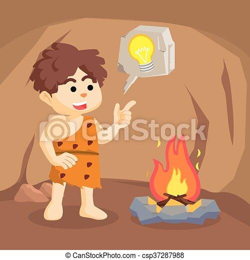 fuoco, ragazzo, caveman, dall'aspetto, era - csp37287988