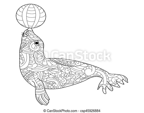 Fur seal coloring vector for adults - csp45926884