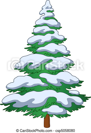 Fur-tree with snow. Christmas fur-tree with snow, winter symbol, isolated object.