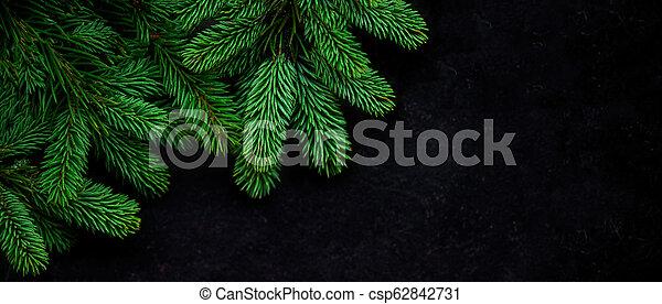 fura, synhåll, above., grenverk, svart, copyspace, julgran, bakgrund. - csp62842731