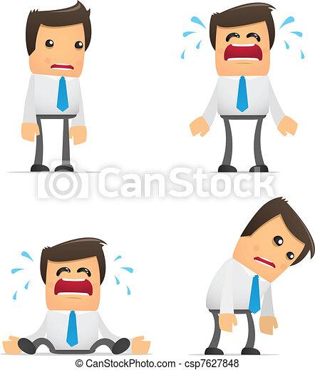 furcsa, menedzser, állhatatos, karikatúra - csp7627848