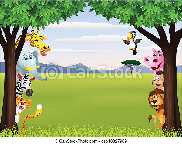furcsa, szafari, állat, karikatúra - csp10327969