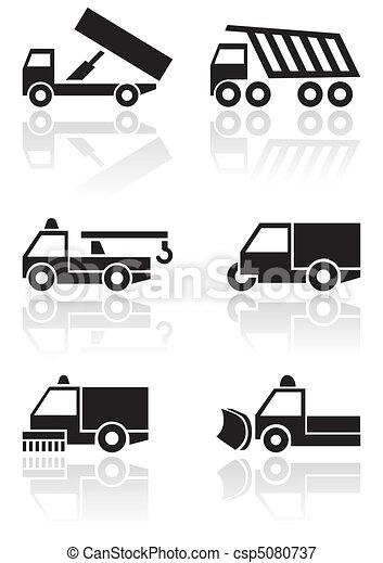 furgone, simbolo, vettore, camion, o, set. - csp5080737