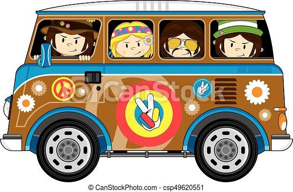 Hippies En La Camioneta Lindos Hippies De Flores De Dibujos