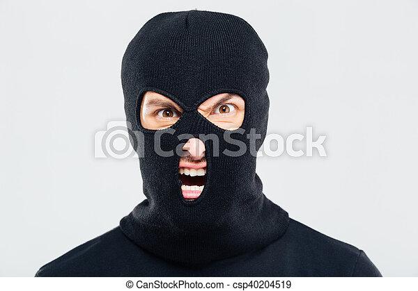 furieux, portrait, balaclava, fou, homme - csp40204519