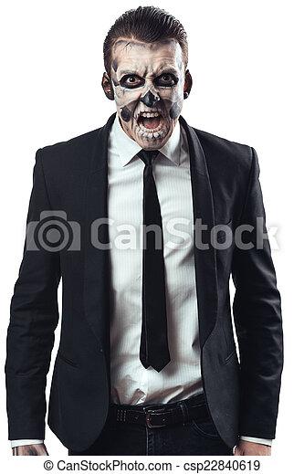furious businessman  makeup skeleton - csp22840619