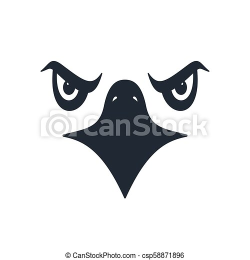 Furious eagle face, vector illustration - csp58871896