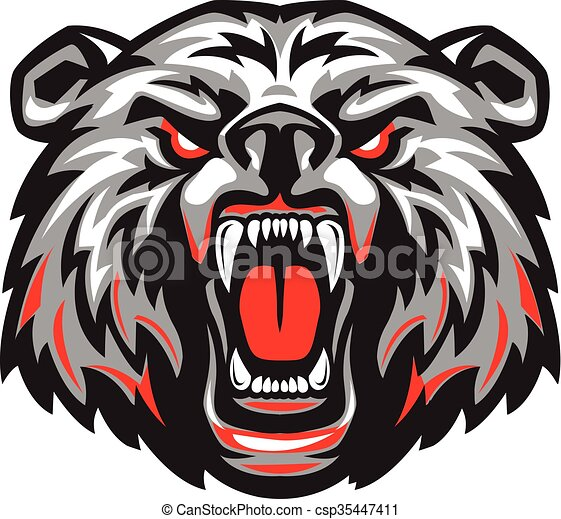 Furious scary bear with an open mouth. Vector illustration ...
