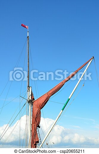 furled thames barge sail - csp20655211