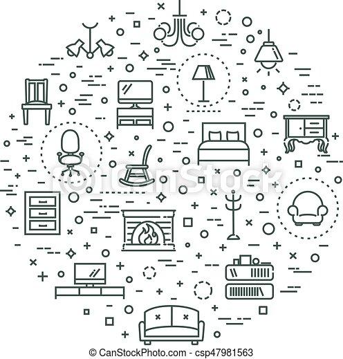 Furniture and home decor icon set - csp47981563