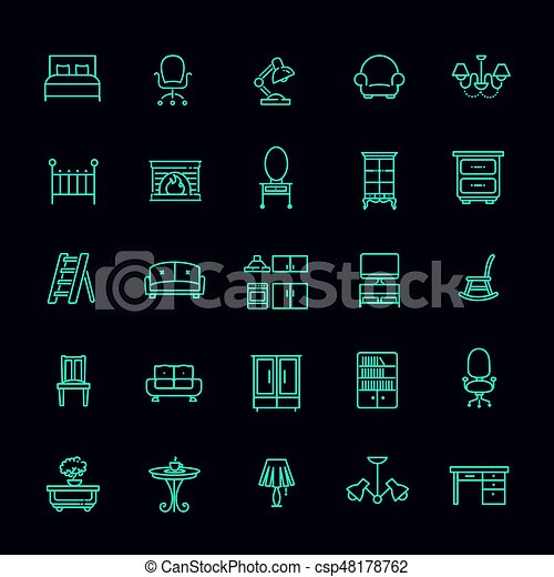 Furniture and home decor icon set - csp48178762