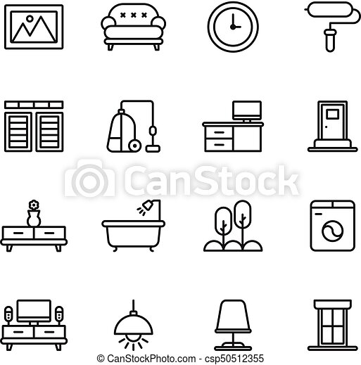 Furniture And Home Decor Icon Set Vector Illustration