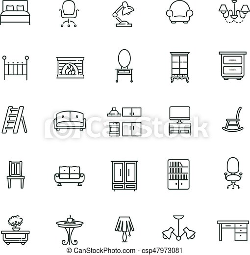Furniture And Home Decor Icon Set Furniture Icons Simple And Thin