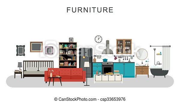 Furniture And Home Decoration With Vector Flat Icons Sofa Bookshelf