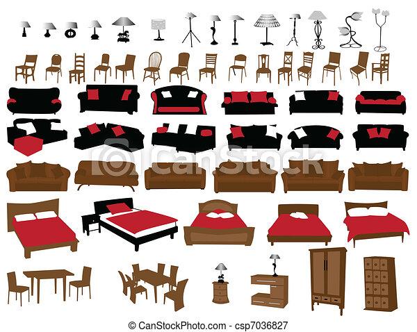 Line Art Vector Design : Furniture and lighting modern design vectors