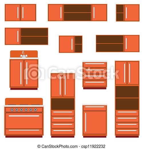 Furniture., cocina. Fondo., blanco, conjunto, muebles,... vectores ...