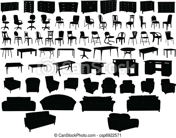 Line Drawing Vector Graphics : Furniture collection vector clip art search illustration