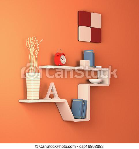 Furniture One Modern Bookshelf On An Orange Wall 3d Render