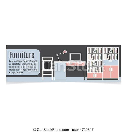 Furniture Horizontal Banner With Table