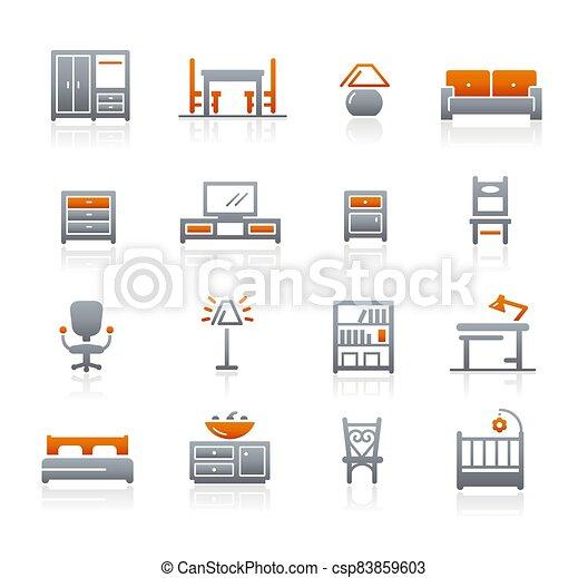 Furniture Icons // Graphite Series - csp83859603