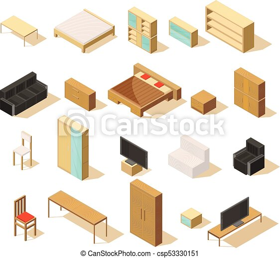 furniture isometric elements set furniture isometric set