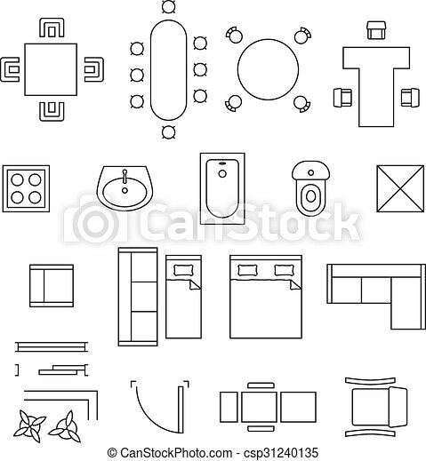 Furniture linear vector symbols. floor plan icons set.... vectors ...