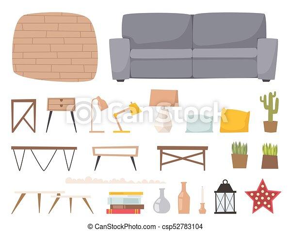 Furniture Room Interior Design Apartment Home Decor Concept Flat Contemporary Architecture Indoor Elements Vector Illustration