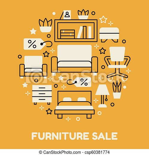 furniture sale banner. Furniture Sale Banner Illustration With Flat Line Icons. Interior Store  Poster. Living Room, Bedroom, Home Office Chair, Shelving, Sofa, Lamp, Furniture