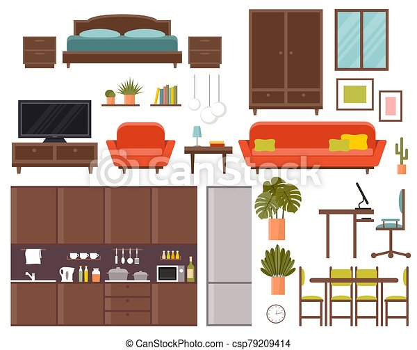 Furniture Set Bedroom Kitchen Dining Room Vector Flat Illustration