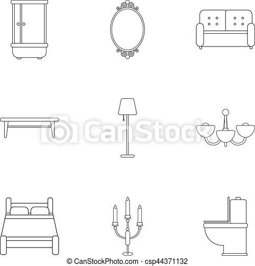 Furniture Set Icons In Outline Style Big Collection Of Furniture