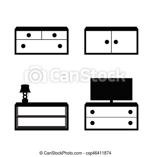furniture set in black and white color illustration vectors rh canstockphoto com