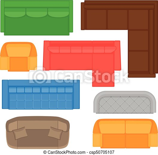 Furniture Top View Collection For Interior Design Vector