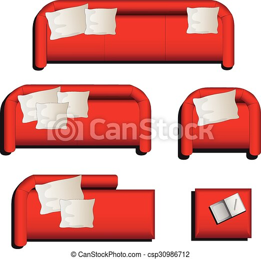 Furniture Top View Set 27 For Interior Vector Illustration Red Sofa