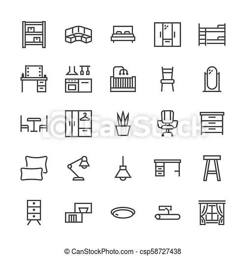 Furniture Vector Flat Line Icons Living Room Bedroom Baby Crib
