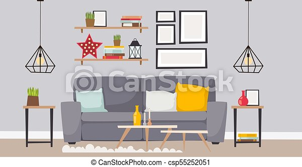 Furniture Vector Room Interior Design Apartment Home Decor Concept Flat Contemporary Furniture Architecture Indoor Elements Illustration