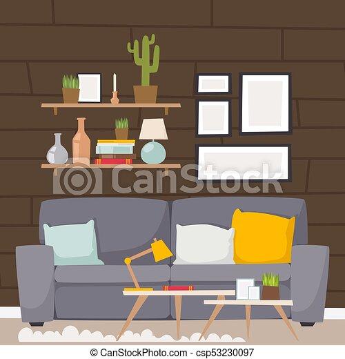 Furniture Vector Room Interior Design Apartment Home Decor Concept Flat Contemporary Furniture Architecture Indoor Elements Canstock