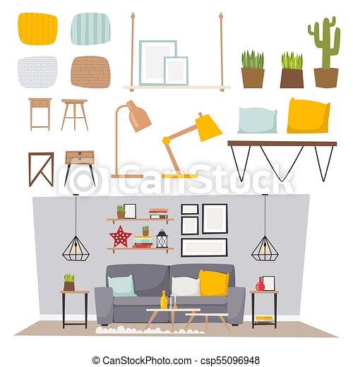 Furniture Vector Room Interior Design Apartment Home Decor Concept