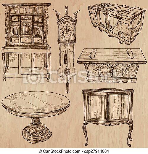 Furniture - Vector sketches, line art - csp27914084