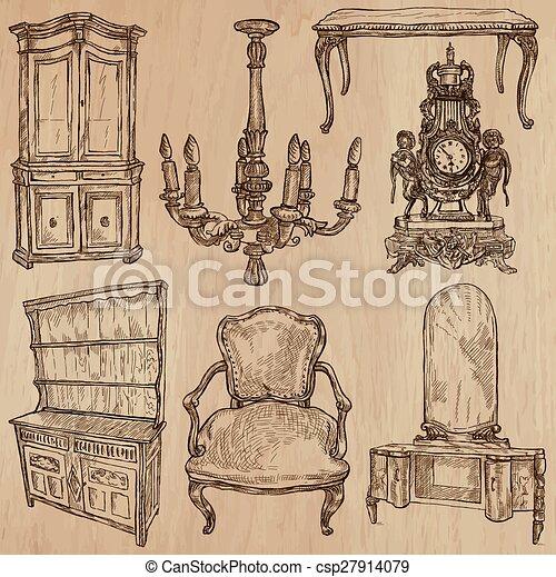 Furniture - Vector sketches, line art - csp27914079