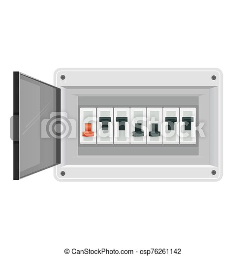 Fuse board box. Electrical power switch panel. Electricity equipment. Vector - csp76261142
