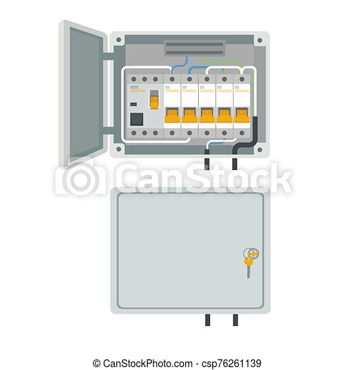 Fuse box. Electrical power switch panel. Electricity equipment. Vector - csp76261139