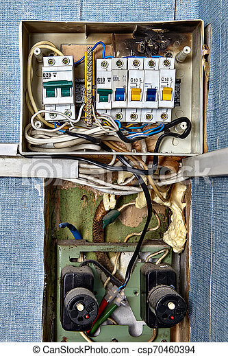 [ZSVE_7041]  Fuse box with burnt circuit breaker panel. Burnt fuse box. fuses and  circuit breakers are safety devices had built into | Breaker Fuse Box Graphic |  | Can Stock Photo
