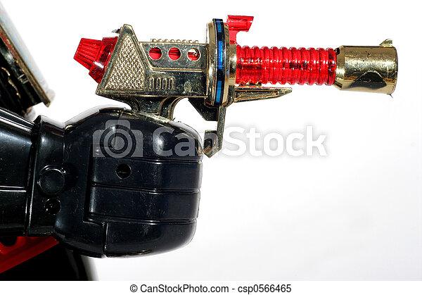 +, fusil jouet, robot, main - csp0566465