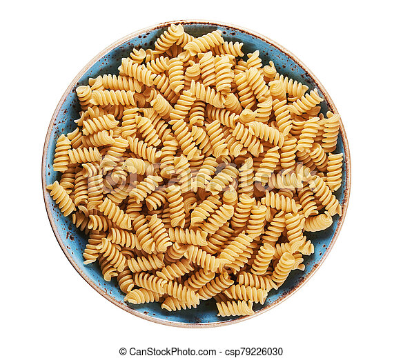 fusilli pasta in a plate isolated on white - csp79226030